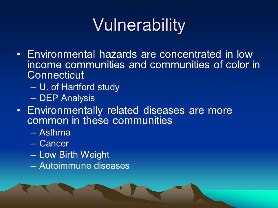 Vulnerability Environmental hazards are concentrated in low income communities and communities of color in Connecticut –U.