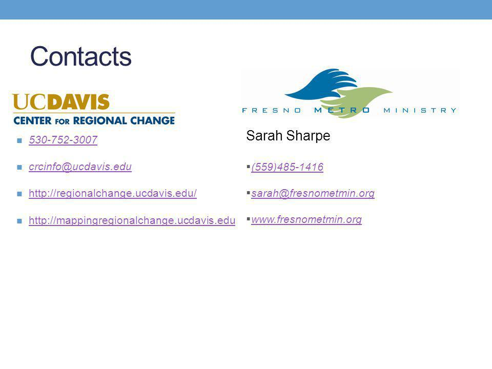 Contacts 530-752-3007 crcinfo@ucdavis.edu http://regionalchange.ucdavis.edu/ http://mappingregionalchange.ucdavis.edu Sarah Sharpe  (559)485-1416 (559)485-1416  sarah@fresnometmin.org sarah@fresnometmin.org  www.fresnometmin.org www.fresnometmin.org