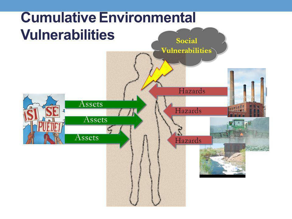 Cumulative Environmental Vulnerabilities 3 Assets Hazards Social Vulnerabilities Hazards Assets