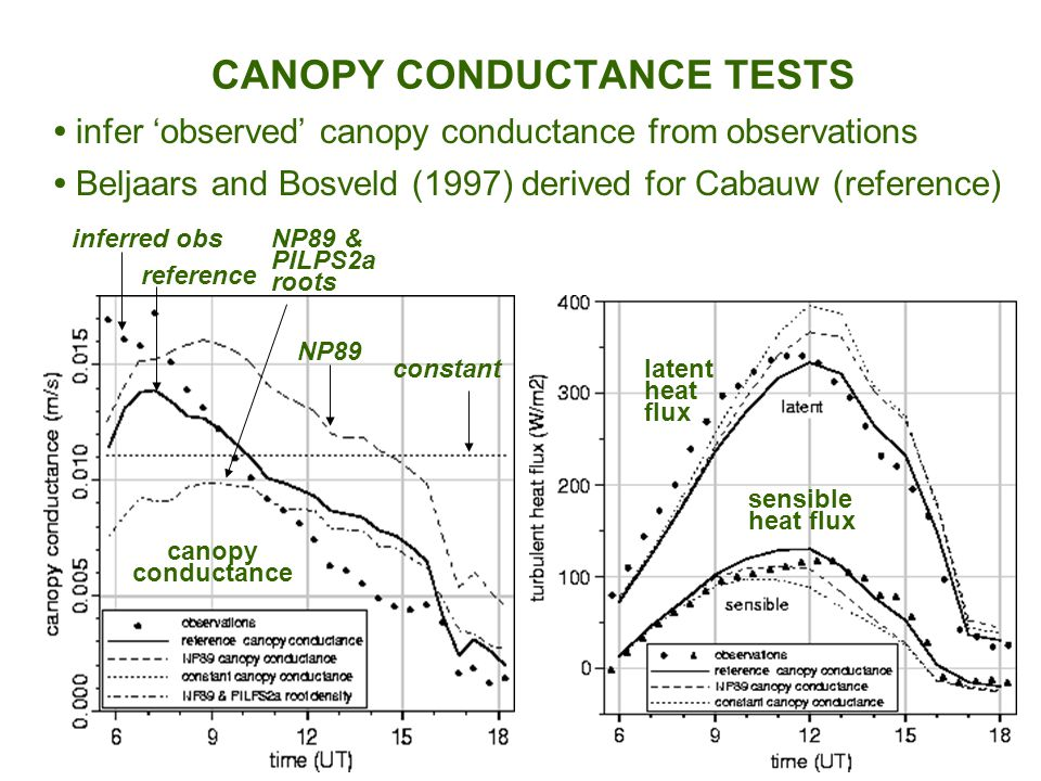 latent heat flux sensible heat flux canopy conductance constant reference NP89 NP89 & PILPS2a roots inferred obs Beljaars and Bosveld (1997) derived for Cabauw (reference) CANOPY CONDUCTANCE TESTS infer 'observed' canopy conductance from observations