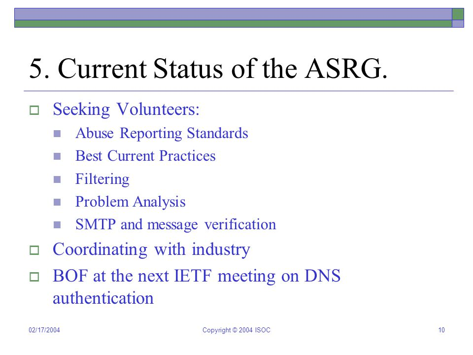 02/17/2004Copyright © 2004 ISOC10 5. Current Status of the ASRG.  Seeking Volunteers: Abuse Reporting Standards Best Current Practices Filtering Prob