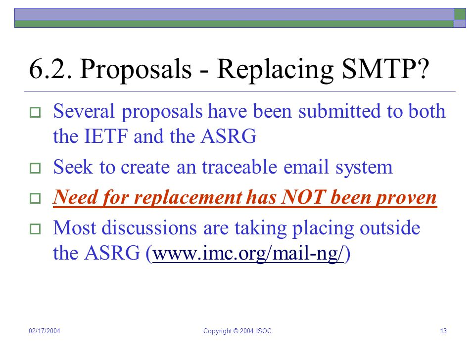 02/17/2004Copyright © 2004 ISOC13 6.2. Proposals - Replacing SMTP.