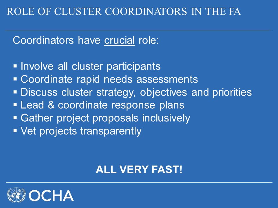 ROLE OF CLUSTER COORDINATORS IN THE FA Coordinators have crucial role:  Involve all cluster participants  Coordinate rapid needs assessments  Discu