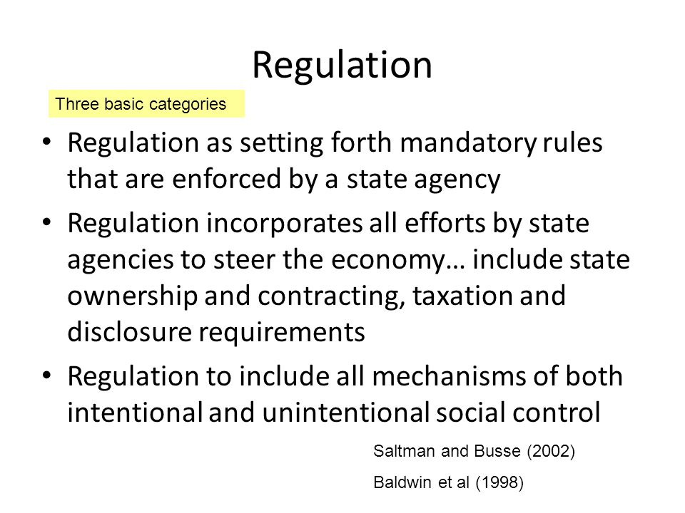 Control-based regulatory instrument Harding and Preker (2003) AreaMethod of regulationApplicationTarget Healthcare personnel LicensingMinimum qualificationsQuality of services Primary and specialty certification Specialized competenceQuality of services RecertificationMaintained competenceQuality of services Practice guidelines and outcomes research Clinical practiceQuality of services Professional standards review organizations Utilization reviewQuality of services Cost of care Peer review organizations Utilization reviewQuality of services Cost of care Fines, penalties and sanctions Provider compliance with regulation Varied