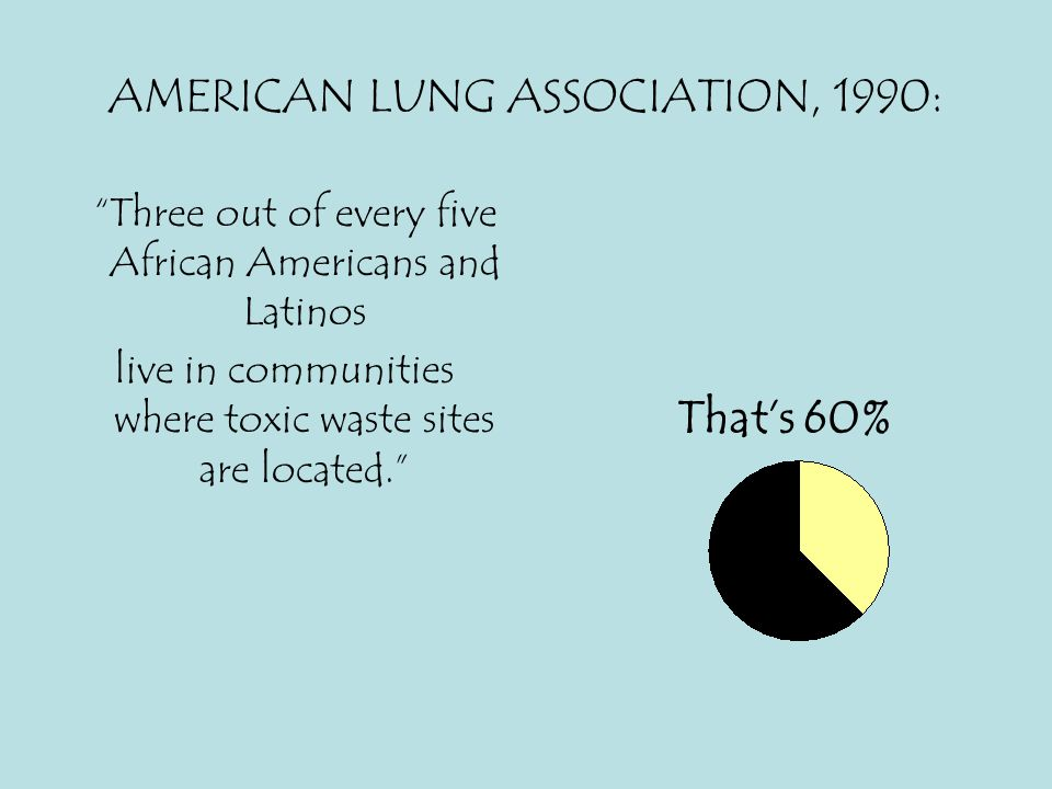 """AMERICAN LUNG ASSOCIATION, 1990: """"Three out of every five African Americans and Latinos live in communities where toxic waste sites are located."""" That"""