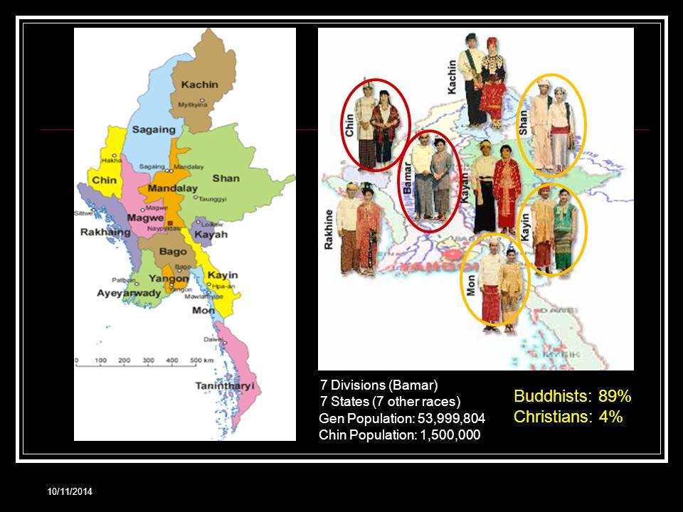 10/11/2014 7 Divisions (Bamar) 7 States (7 other races) Buddhists: 89% Christians: 4% Gen Population: 53,999,804 Chin Population: 1,500,000