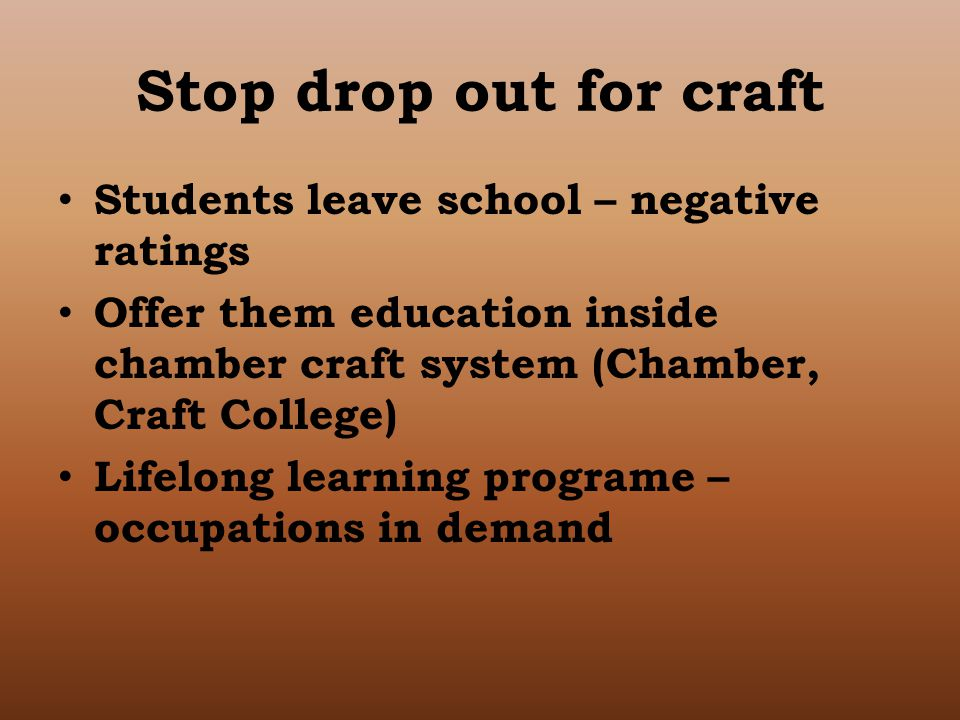 Stop drop out for craft Students leave school – negative ratings Offer them education inside chamber craft system (Chamber, Craft College) Lifelong learning programe – occupations in demand