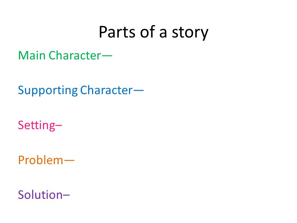 Parts of a story Main Character— Supporting Character— Setting– Problem— Solution–