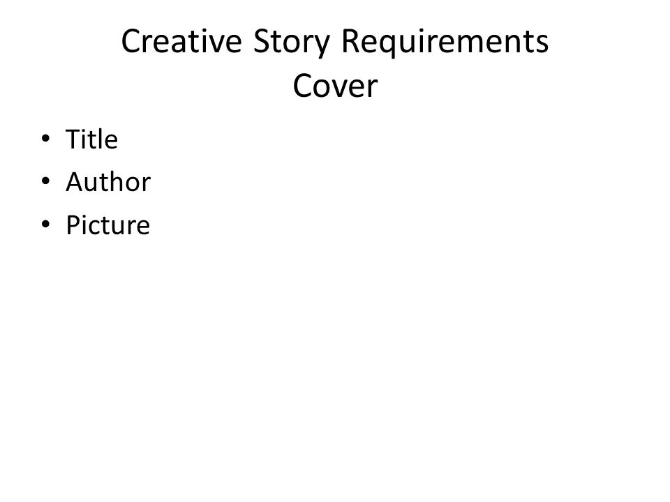Creative Story Requirements Cover Title Author Picture