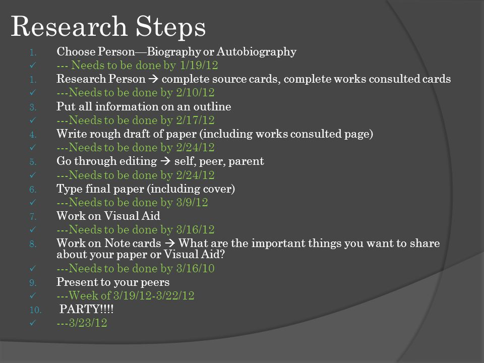 Research Steps 1. Choose Person—Biography or Autobiography --- Needs to be done by 1/19/12 1.