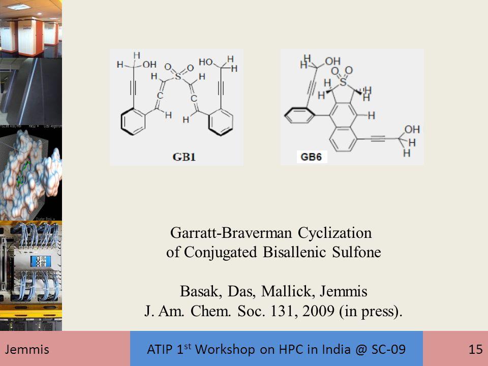 JemmisATIP 1 st Workshop on HPC in India @ SC-0915 Garratt-Braverman Cyclization of Conjugated Bisallenic Sulfone Basak, Das, Mallick, Jemmis J. Am. C