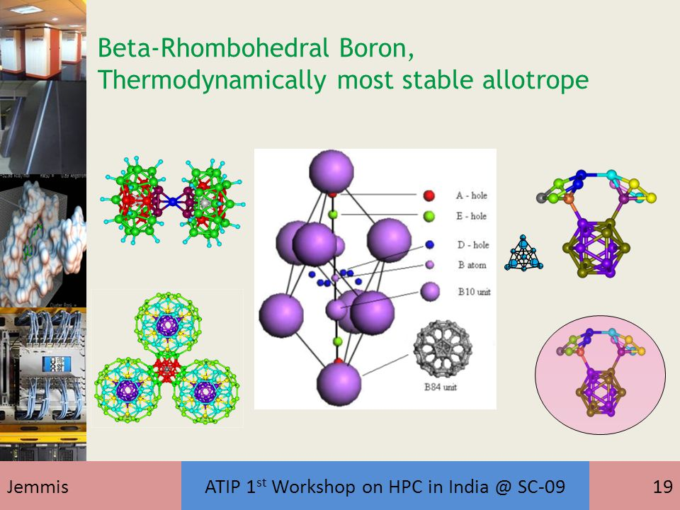 JemmisATIP 1 st Workshop on HPC in India @ SC-0919 Beta-Rhombohedral Boron, Thermodynamically most stable allotrope