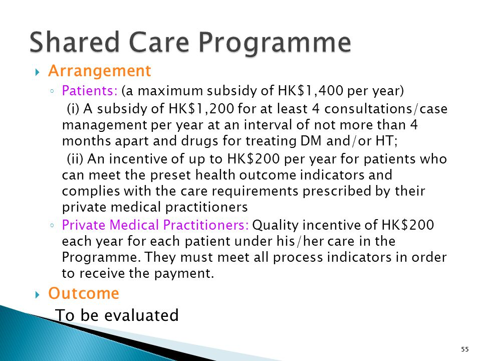 55  Arrangement ◦ Patients: (a maximum subsidy of HK$1,400 per year) (i) A subsidy of HK$1,200 for at least 4 consultations/case management per year