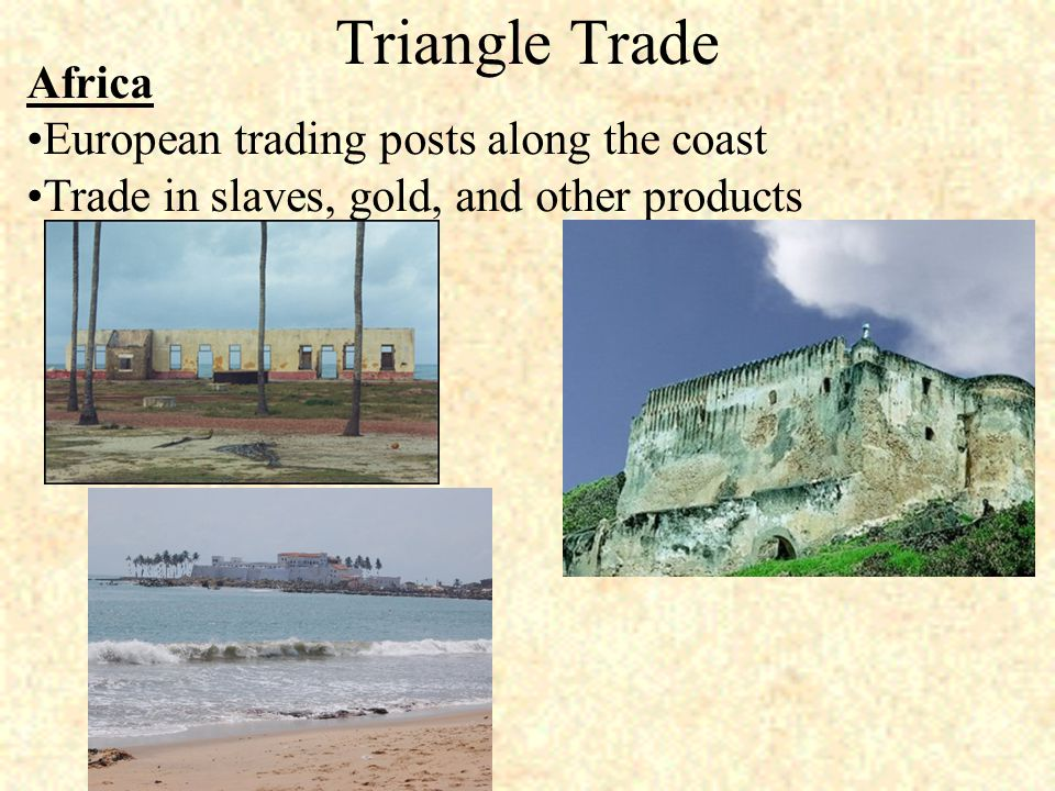 Triangle Trade Africa European trading posts along the coast Trade in slaves, gold, and other products