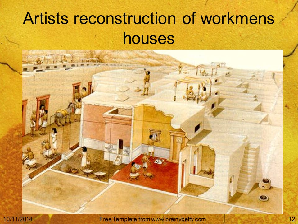 10/11/2014Free Template from www.brainybetty.com12 Artists reconstruction of workmens houses