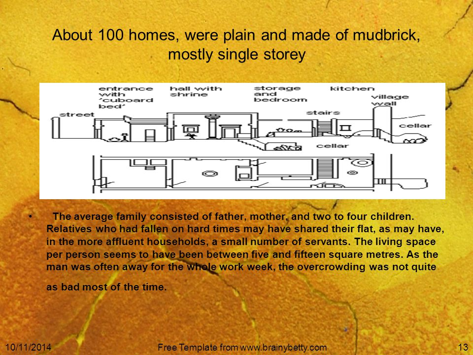 10/11/2014Free Template from www.brainybetty.com13 About 100 homes, were plain and made of mudbrick, mostly single storey The average family consisted of father, mother, and two to four children.