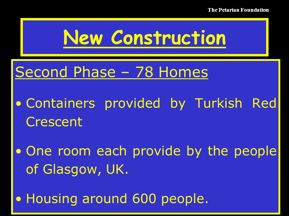 The Petarian Foundation New Construction Second Phase – 78 Homes Containers provided by Turkish Red Crescent One room each provide by the people of Glasgow, UK.