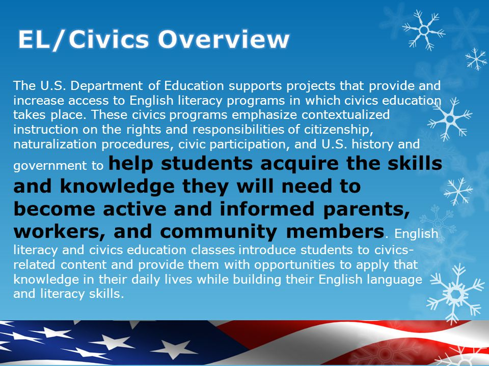 This program provides grants to states to fund local programs of adult education and literacy services, including workplace literacy services; family literacy services; English literacy programs and integrated English literacy-civics education programs.