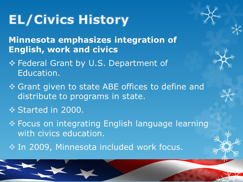 Minnesota emphasizes integration of English, work and civics  Federal Grant by U.S.