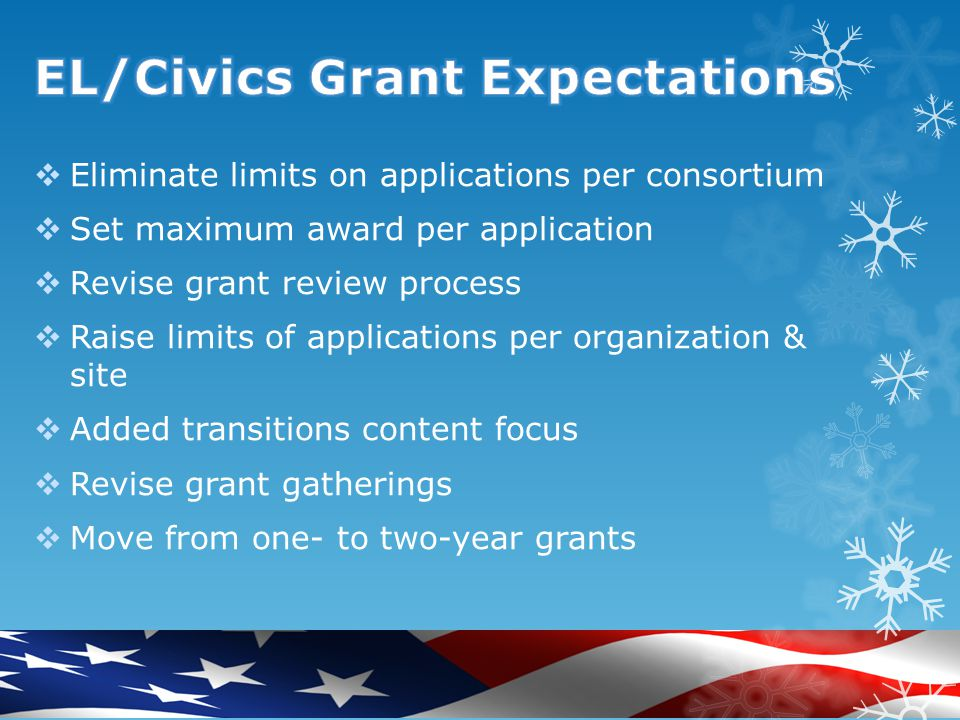  Purpose: What is the purpose of EL/Civics. Need: Why are EL/Civics grants useful.