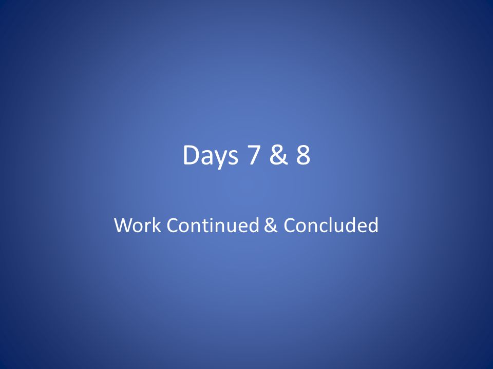 Days 7 & 8 Work Continued & Concluded