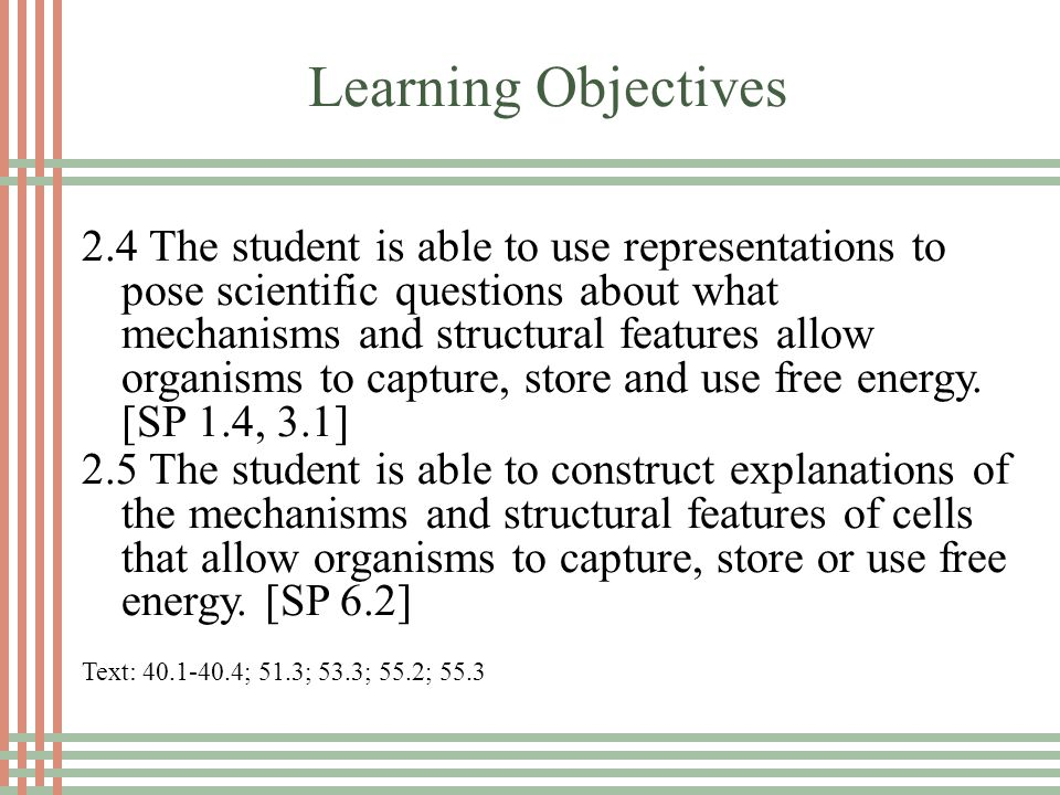 Learning Objectives 2.4 The student is able to use representations to pose scientific questions about what mechanisms and structural features allow organisms to capture, store and use free energy.