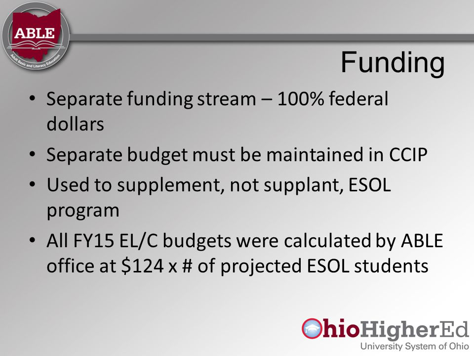 Funding Separate funding stream – 100% federal dollars Separate budget must be maintained in CCIP Used to supplement, not supplant, ESOL program All FY15 EL/C budgets were calculated by ABLE office at $124 x # of projected ESOL students