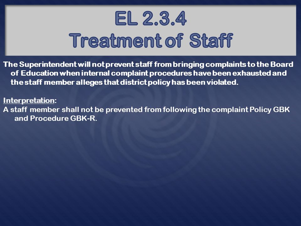 The Superintendent will not retaliate against a paid staff member for non- disruptive, internal expression of dissent, or for reporting to management or to the Board (per the complaint process in the personnel manual) acts or omissions by paid or volunteer staff or the Board that the employee believes, in good faith and based on credible information, constitutes a violation of state or federal law or a governing policy of the Board.