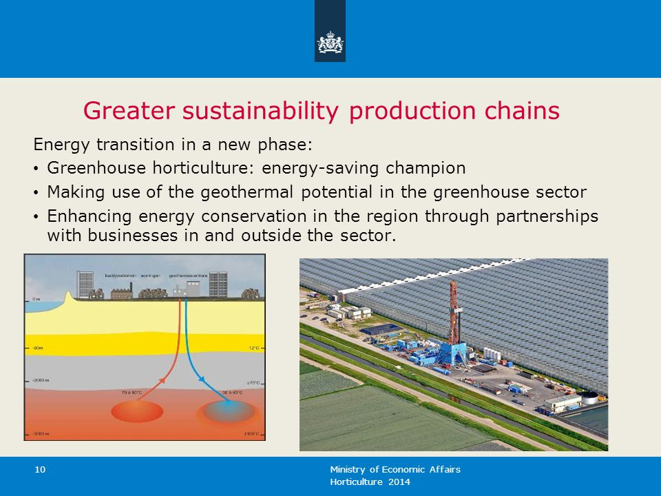 Horticulture 2014 Ministry of Economic Affairs 10 Greater sustainability production chains Energy transition in a new phase: Greenhouse horticulture: