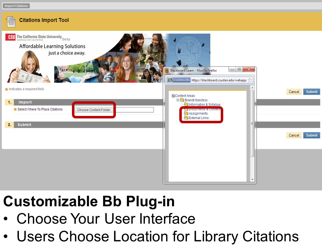 Customizable Bb Plug-in Choose Your User Interface Users Choose Location for Library Citations