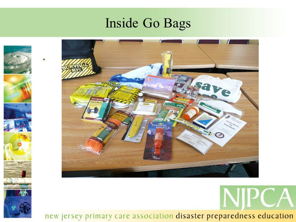 Inside Go Bags.