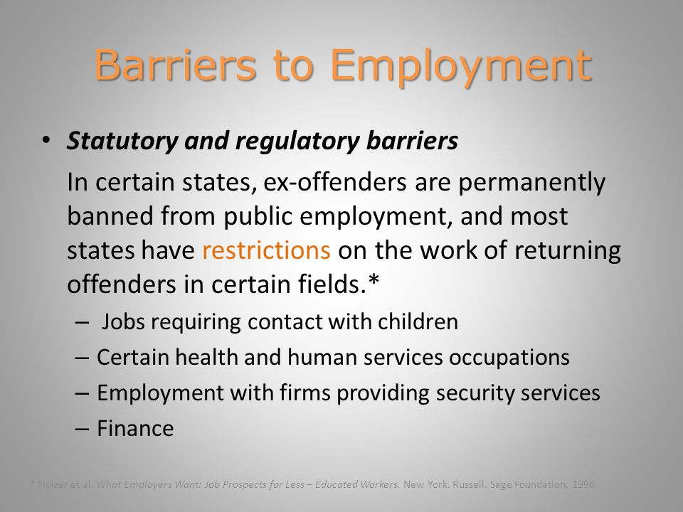 Programs Reentry Programs An intermediary program helps employers hire individuals with a criminal record by training and preparing clients for a particular industry, screening prospective employees, and sending qualified, work-ready applicants to the field.