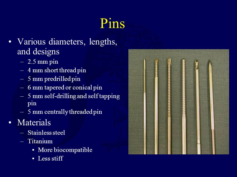 Ring Fixators Principles: –Multiple tensioned thin wires (90- 130 kg) –Place wires as close to 90 o to each other –Half pins also effective –Use full rings (more difficult to deform) Can maintain purchase in metaphyseal bone Allows dynamic axial loading May allow joint motion
