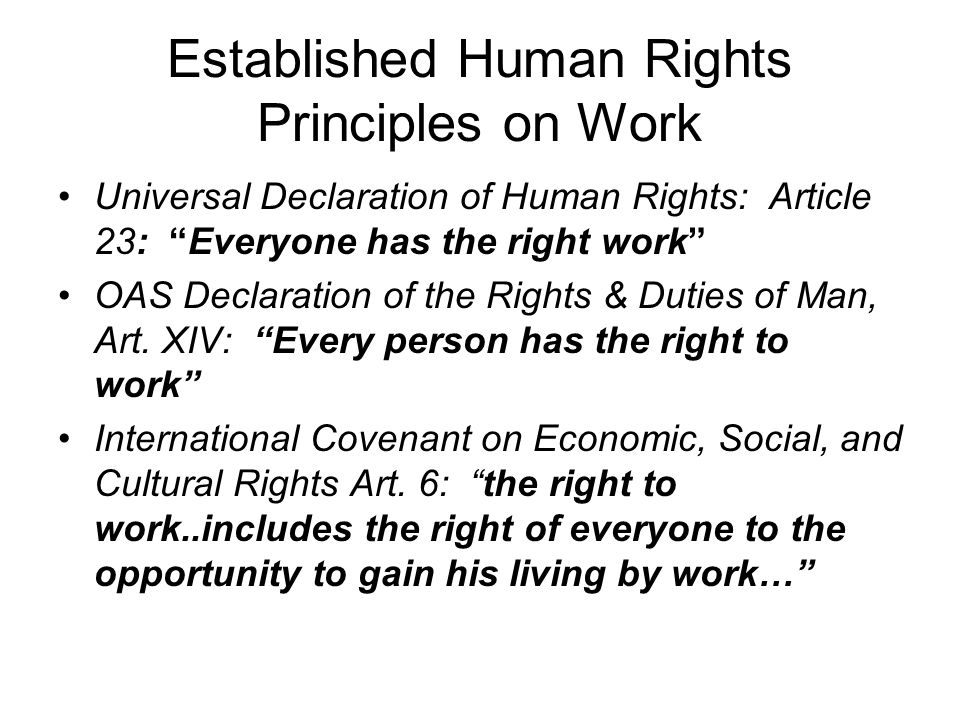 Established Human Rights Principles on Work Universal Declaration of Human Rights: Article 23: Everyone has the right work OAS Declaration of the Rights & Duties of Man, Art.