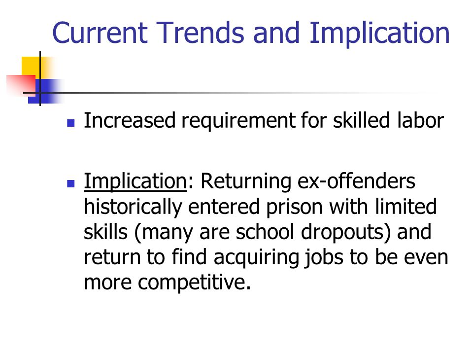 Current Trends and Implication Increased requirement for skilled labor Implication: Returning ex-offenders historically entered prison with limited sk