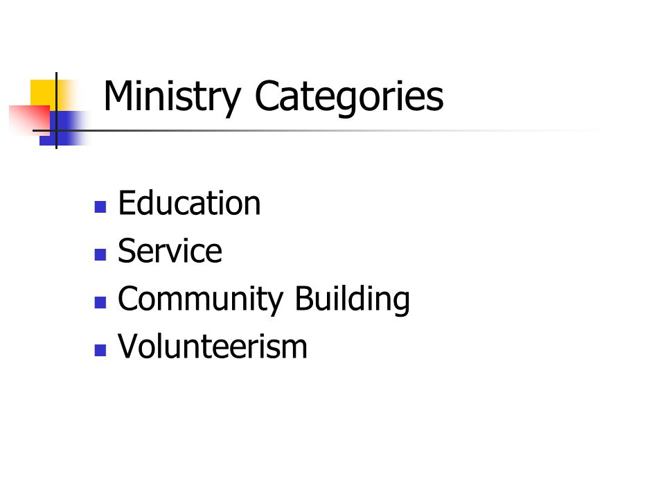 Education Service Community Building Volunteerism Ministry Categories