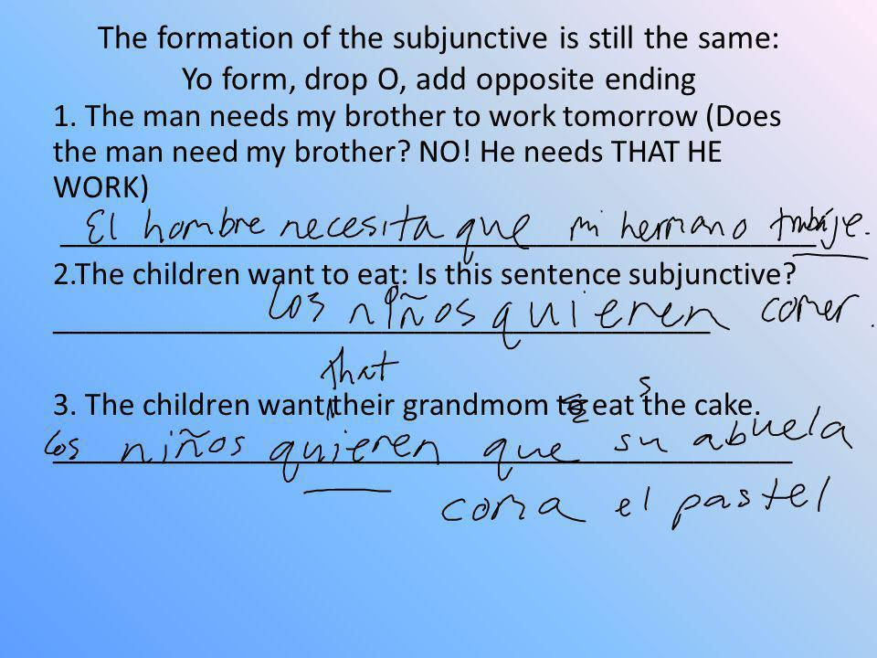 The formation of the subjunctive is still the same: Yo form, drop O, add opposite ending 1. The man needs my brother to work tomorrow (Does the man ne