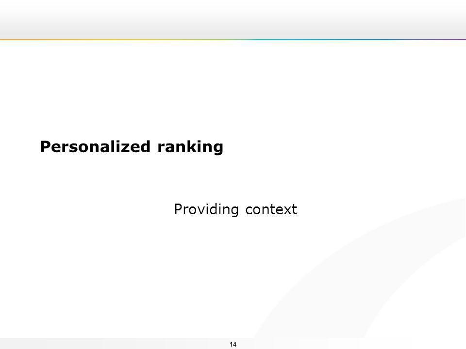 14 Personalized ranking Providing context