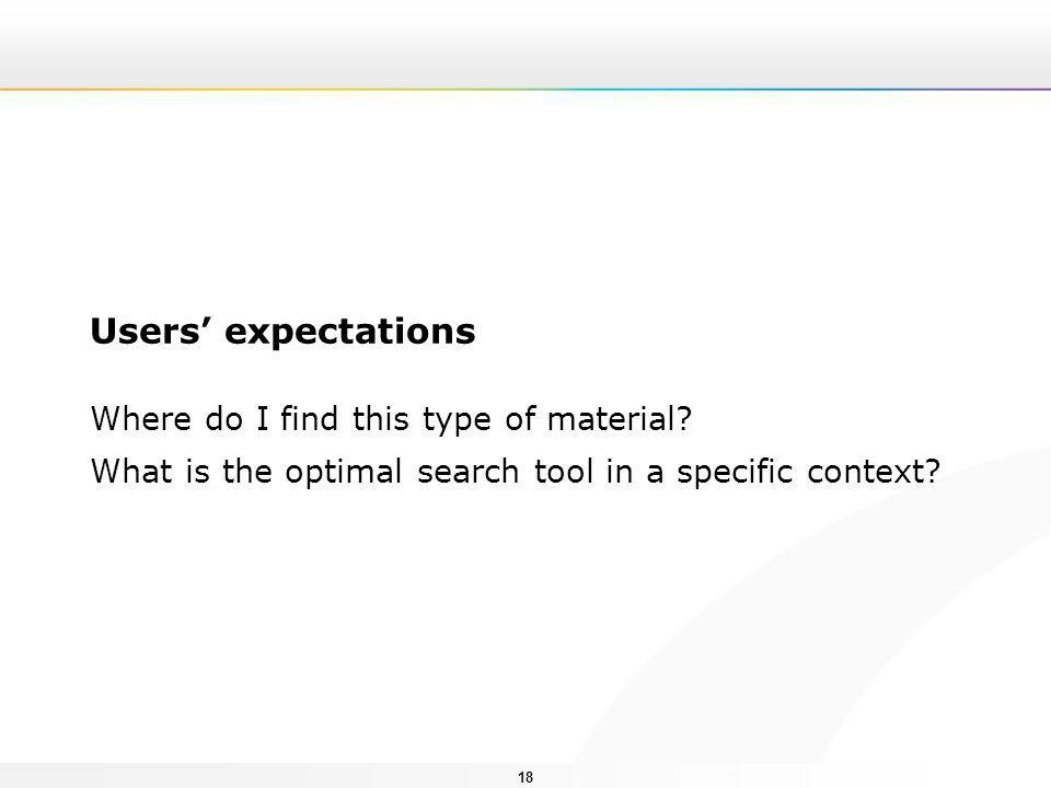 18 Users' expectations Where do I find this type of material? What is the optimal search tool in a specific context?