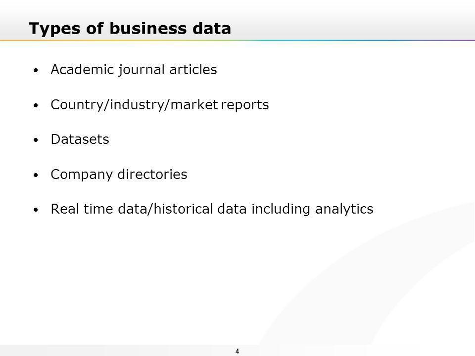 44 Types of business data Academic journal articles Country/industry/market reports Datasets Company directories Real time data/historical data including analytics