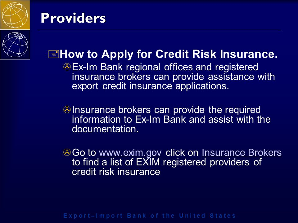 Providers + How to Apply for Credit Risk Insurance.