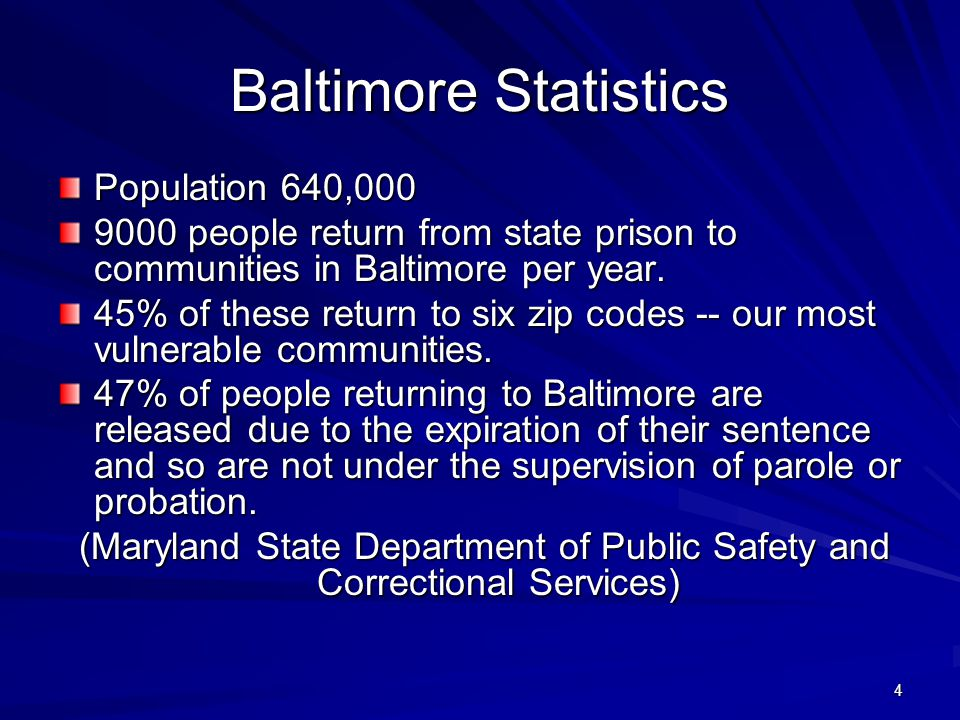 4 Baltimore Statistics Population 640,000 9000 people return from state prison to communities in Baltimore per year. 45% of these return to six zip co