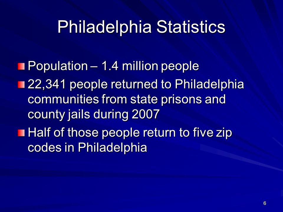 7 Chicago Population - 2.7 million people 16,000 people return to communities from state prison on an annual basis