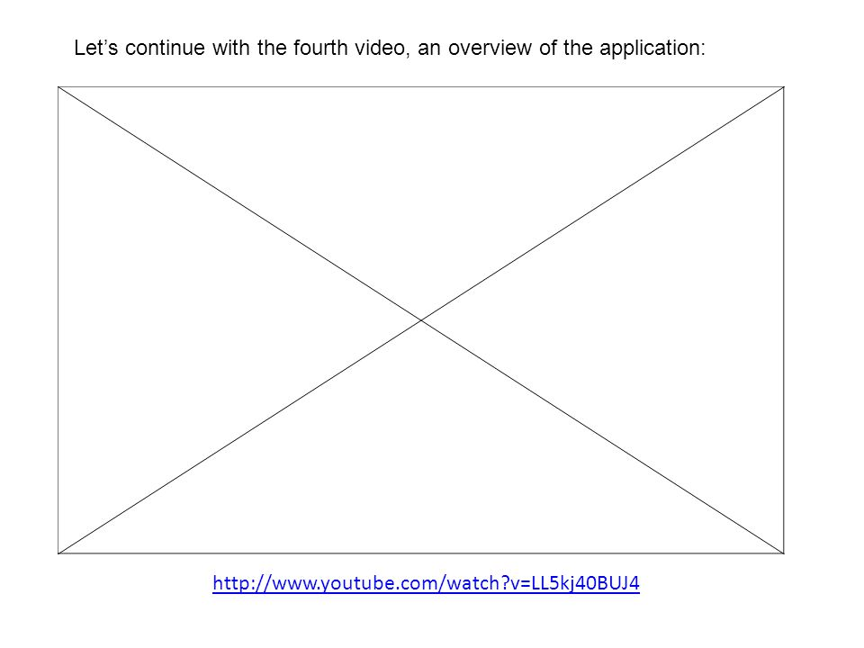 Let's continue with the fourth video, an overview of the application: http://www.youtube.com/watch v=LL5kj40BUJ4