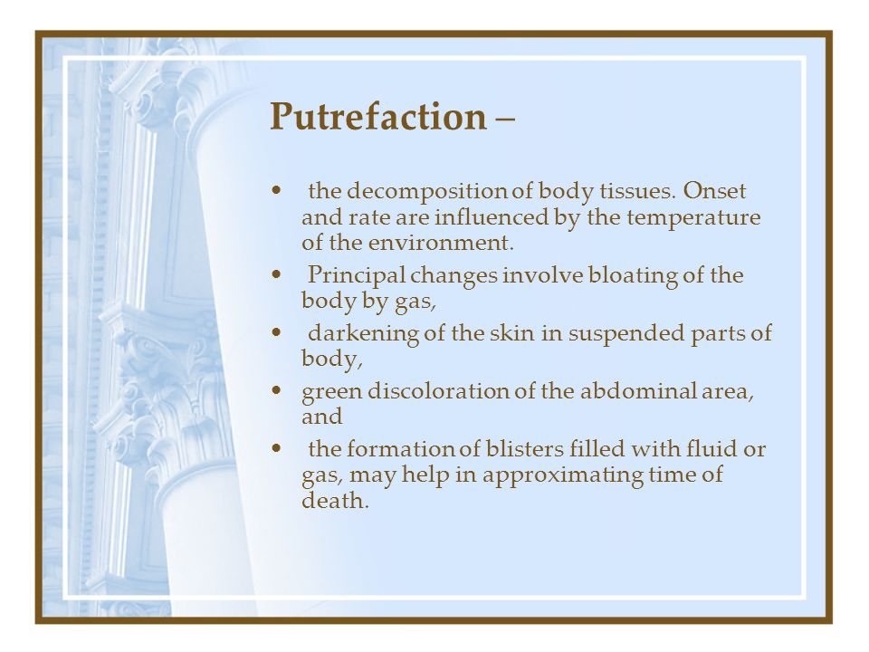 Putrefaction – the decomposition of body tissues.