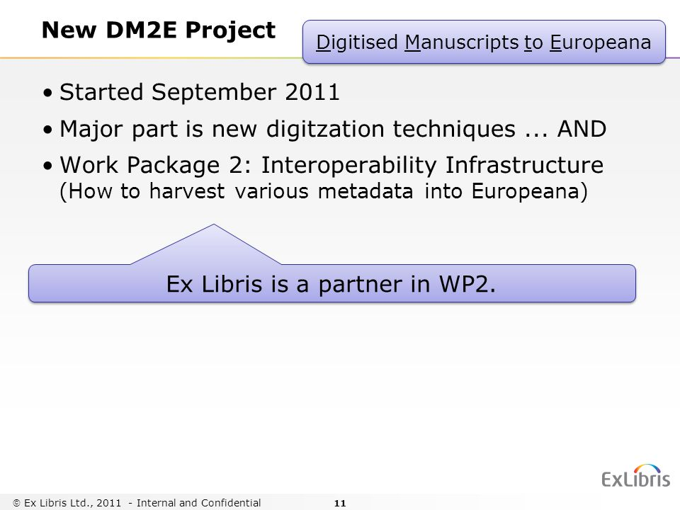 11 New DM2E Project Started September 2011 Major part is new digitzation techniques...