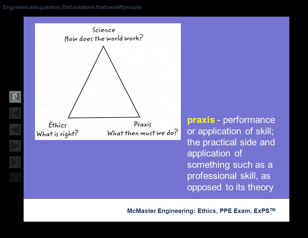 Soar with Science McMaster Engineering: Ethics, PPE Exam, ExPS TM P Engineers ask question, find solutions that benefit people. praxis - performance o