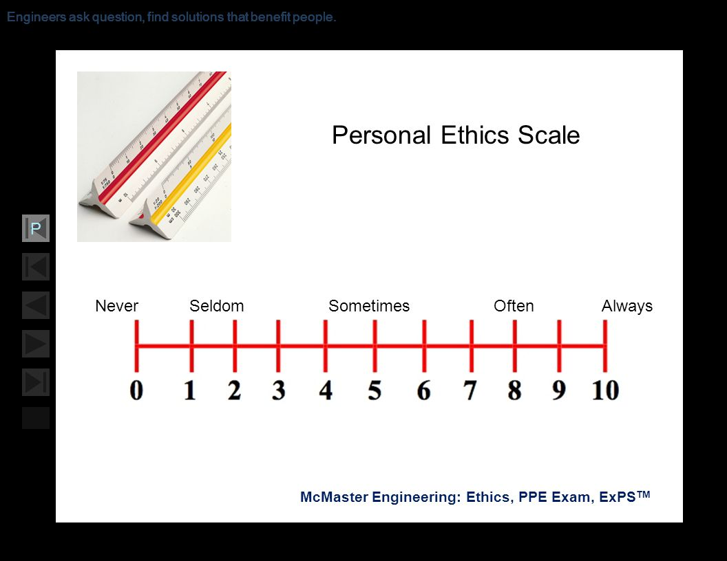 Soar with Science McMaster Engineering: Ethics, PPE Exam, ExPS TM P Engineers ask question, find solutions that benefit people. Never Seldom Sometimes