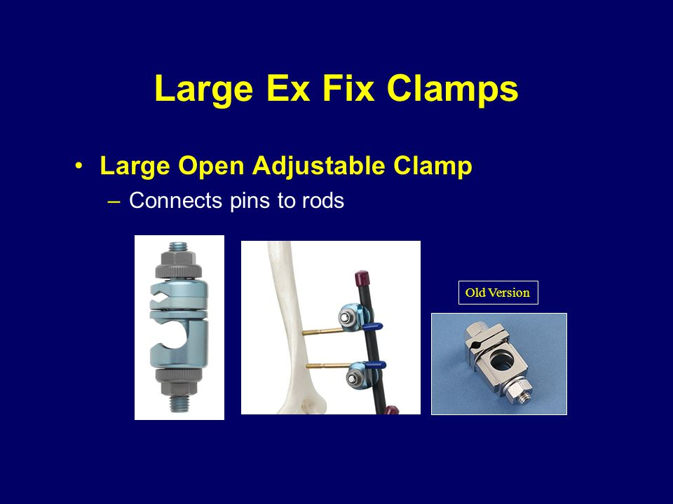 Large Ex Fix Clamps Large Open Adjustable Clamp –Connects pins to rods Old Version