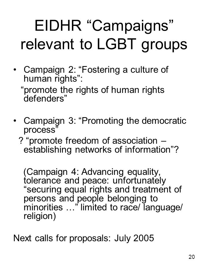 "20 EIDHR ""Campaigns"" relevant to LGBT groups Campaign 2: ""Fostering a culture of human rights"": ""promote the rights of human rights defenders"" Campaig"